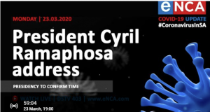 Live stream:Cyril Ramaphosa's Nation Address Monday 23 March 2020